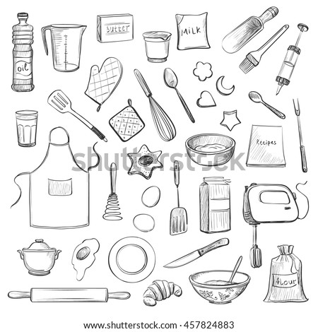 Cooks tools items set handdrawn design stock vector for Kitchen set drawing