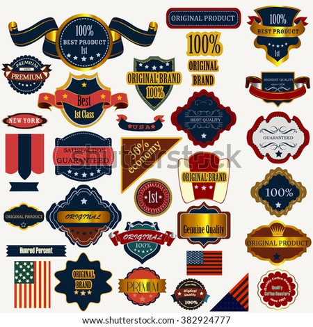 Collection of vector labels badges and stickers in retro style