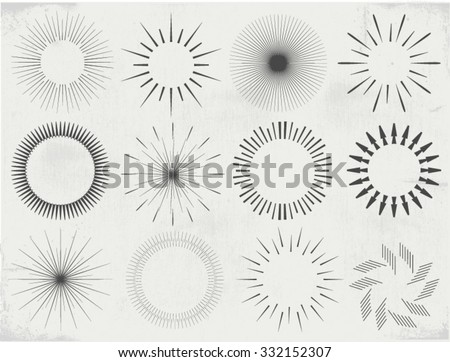 Collection of vector  sunburst