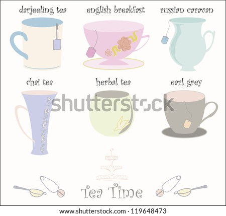 Collection of 6 vector teacups in cute vector style