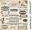 Collection of vintage elements for Coffee design: retro coffee badges and labels, old style floral ornaments, frames and borders | eps10 vector set - stock photo
