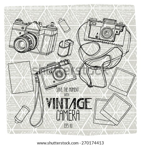 Collection of vintage reflex cameras with ethnic background. Vector design elements. Coloring book page design