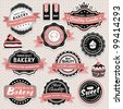 Collection of vintage retro food labels, badges and icons - stock photo