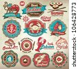 Collection of vintage retro grunge seafood restaurant labels, badges and icons - stock