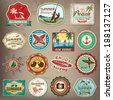 Collection of vintage retro grunge summer labels, labels, badges and icons - stock