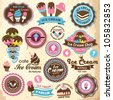 Collection of vintage retro ice cream labels, badges and icons - stock photo