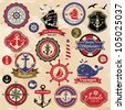 Collection of vintage retro nautical labels, badges and icons - stock photo