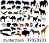 collection of wild animals vector silhouettes - stock photo