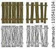 Collection of Wooden Isolated Fences on White Background, Vector Illustration, Flat Top - stock vector