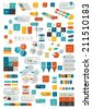 Collections of infographics flat design template. Various color schemes, boxes, speech bubbles, charts. Vector illustration.  - stock vector