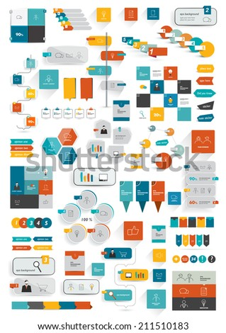 Collections of infographics flat design template. Various color schemes, boxes, speech bubbles, charts. Vector illustration.