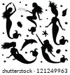 Collections of vector silhouettes of a mermaid. - stock photo