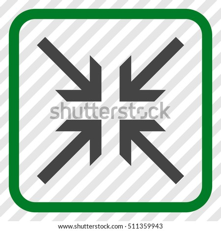 Collide Arrows green and gray vector icon. Image style is a flat pictogram symbol inside a rounded square frame on a transparent diagonally hatched background.