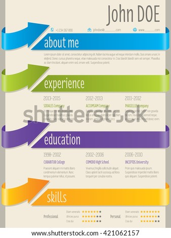 Color arrow ribbons cv resume curriculum vitae template design