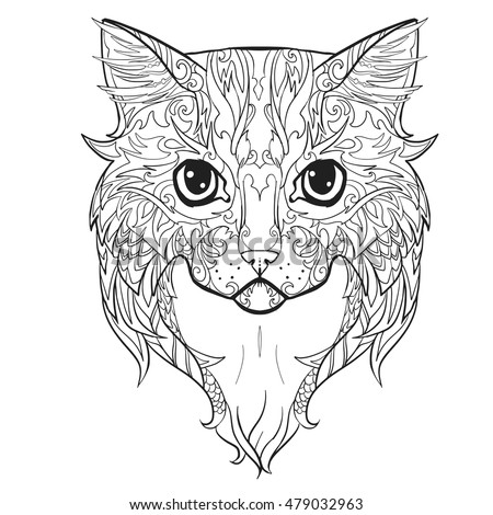 Scottish British Cat Face Doodle Coloring Stock Vector 537487900