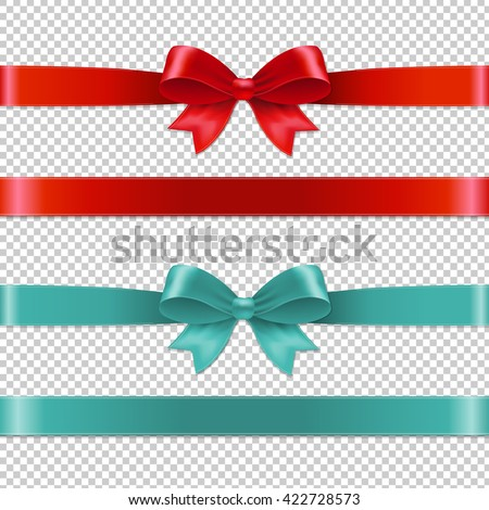Color Bows Collection, Isolated on Transparent Background, With Gradient Mesh, Vector Illustration
