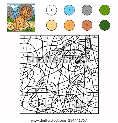 color by number lion