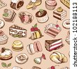 Color desserts seamless pattern - stock vector