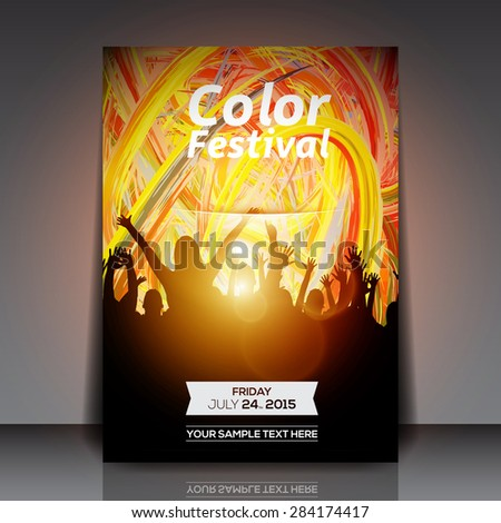 Color Festival Party Flyer - Vector Design