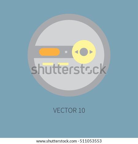 Color flat vector icon retro electrical stock vector 511053550 shutterstock - Porta cd design ...