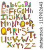 Color hand drawn alphabet, illustration, vector - stock vector