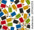 Color pencils seamless background, vector. - stock vector