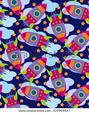 Color rocket ship pattern. Rocket ship with stars in the sky. Vector illustration.