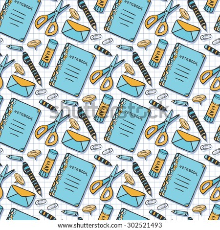 Color seamless pattern with school stationery tools. Vector background in doodle style. School tools