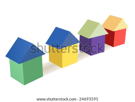 color toy cubes houses vector
