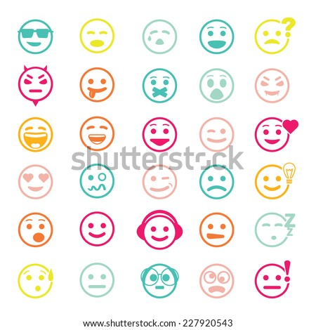Color vector icons of smiley faces on white background. Set of different emotions.