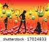 Colored background with bubbles, sexy devil women silhouettes standing in front of fire flames - stock vector
