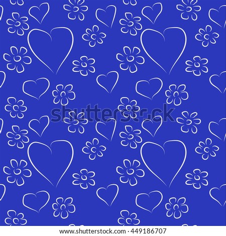 colored background with flowers and hearts