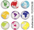 Colored Earth globes - stock vector