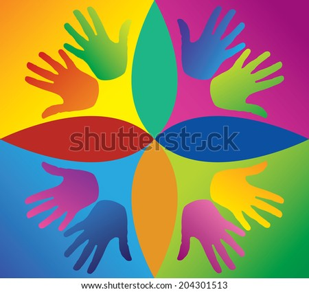 colored hands in a circle, Pop art style - social games - mutual aid - various characters - hand Gestures