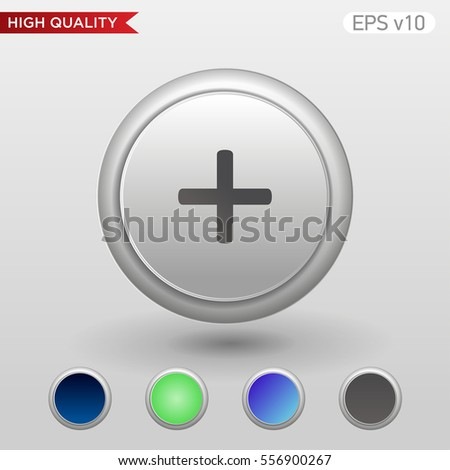 Colored icon or button of plus symbol with background