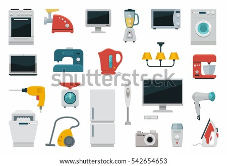 Colored icons of home appliances and utensils. Flat vector illustration.