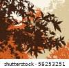 Colored landscape of autumn brown foliage - Vector illustration - The different graphics are on separate layers so they can easily be moved or edited individually - stock vector