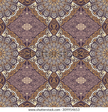 Colored pattern with decorative symmetric ornaments. Vector seamless texture