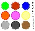 colored round sticker icons - stock vector