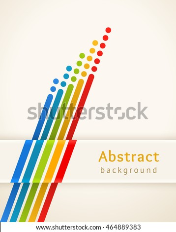 Colored stripes with circles. Retro vector background. Design template. Abstract lines directed upwards. Concept of leadership, competition, success and etc