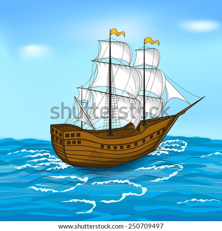 colored vintage sailing ship at sea and the sky