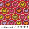 Colorful acid endless pattern with hearts in circles. Abstract background with many decorative elements. Happy childish template - stock vector