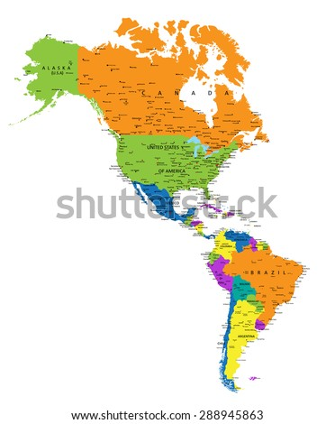 Colorful Americas Political Map With Clearly Labeled Separated Layers Vector Ilration