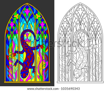 Colorful And Black White Pattern Of Gothic Stained Glass Window With Salamander Flames