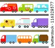 Colorful and Cute vector cartoon Icons collection as design elements, a set of Transportation theme - fire truck, food truck, mail truck, icecream truck, ambulance, a van isolated on white - stock vector