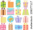 Colorful and Cute vector Icons collection as design elements, A set of simple birthday gift box, present with pretty pattern in pastel with different ribbons isolated on white background background - stock vector