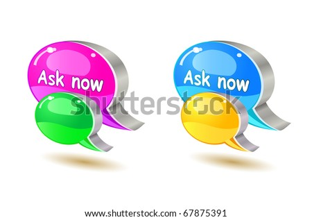 colorful ask bubble chat icon set isolated on white background