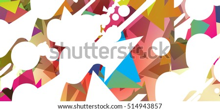 Colorful background of triangles, circles and other shapes.  School. Notebook Design. Abstract expressionism. Modern art.