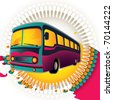 Colorful background with retro bus. Vector illustration. - stock photo