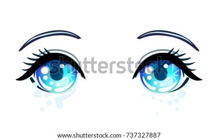 eyes anime style teardrop reflection loved stock vector